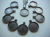 """Crafting Mania LLC 10 Round Black Bezel Pendant Trays and 10 24"""" Black Cable Chain Necklaces for Necklace Jewellery Making 3x2mm with Lobster Clasps and a 6mm rings"""