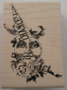 STAMPINGTON & CO CHANCELLOR WHIMSICAL DUNCE MAN IN THE MOON RUBBER STAMP #S7320
