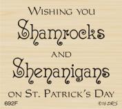 Shamrocks & Shenanigans Greeting Rubber Stamp By DRS Designs Rubber Stamps