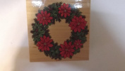 poinsettia wreath stamp