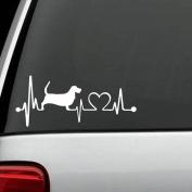 K1062 Basset Hound Heartbeat Monitor Lifeline Dog Decal Sticker