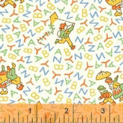 "1 Yard PreCut - ""Alphabet Kids"" in Yellow on White Cotton Fabric - a Storybook Playtime Series (Great for Quilting, Sewing, Craft Projects, Throw Pillows & More) Pre-Cut 1 Yard X 110cm"