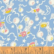 "1 Yard PreCut - Blue ""Sleepy Bunny"" Cotton Fabric - ""Storybook Playtime"" Series (Great for Quilting, Sewing, Craft Projects, Throw Pillows & More) Pre-Cut 1 Yard X 110cm"