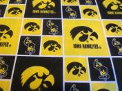 University Of Iowa Yellow And Block Cotton Fabric