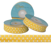 5 Yards of 1.6cm Yellow with White Polka Dots Fold Over Elastic - ElasticByTheYardTM