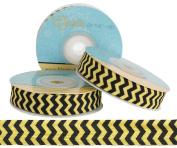 5 Yards of 1.6cm Yellow and Black Chevron Fold Over Elastic - ElasticByTheYardTM