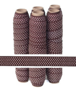 5 Yards of 1.6cm Small Pink Dots on Brown Fold Over Elastic - ElasticByTheYardTM