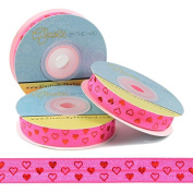 5 Yards of 1.6cm Red and Pink Hearts Valentine Fold Over Elastic - ElasticByTheYardTM
