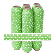 5 Yards of 1.6cm Green with White Polka Dots Fold Over Elastic - ElasticByTheYardTM