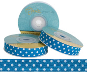 5 Yards of 1.6cm Blue with White Polka Dots Fold Over Elastic - ElasticByTheYardTM