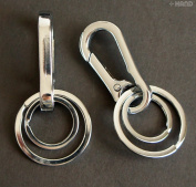 816 Solid All Metal Double Key Rings & Buckle - Pack of 2