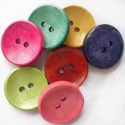 PEPPERLONELY 100PC Mixed Painted 2-Hole Wooden Sew On Buttons 20mm