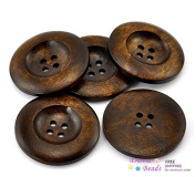 6 Dark Brown 4 Holes Round Wood Sewing Buttons 3.5cm Button Crafts, Scrapbooking
