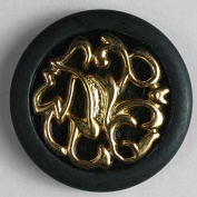 24k Gold Plated Plaque on Black Dill Button #340439 ABS/Polyamid 25mm Hand Washable