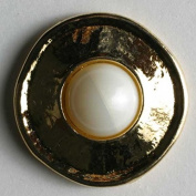 While Pearl Antiqued Gold Coloured Button by Dill #340199 ABS/POLYAMID 23 MM - WASHABLE & DRY CLEANABLE