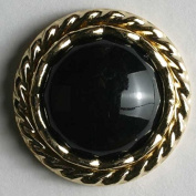 Black and Gold Dill Button #310144 Abs/ Polyamid 20 mm, Washable, & Dry Cleanable