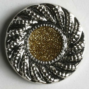 Gold Glitter and Sillver Enamelled Dill Button #340216 - 23 MM - WASHABLE & DRY CLEANABLE