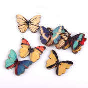NUOLUX Wooden Button with Butterfly Style for Sewing Scrapbooking DIY Craft, 2-hole, Pack of 100