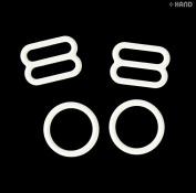 WMRS0812 White Nylon Coated Metal Lingerie Rings (16g) and Sliders (20.5g) Bra Bikini - Size 12mm - appx 50 Sets