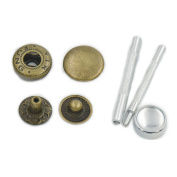 """100 Sets 12mm 1/2"""" Metal Snap Fastener Leather Craft Rapid Rivet Button Setting Sewing Tool Bronze"""
