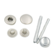 "100 Sets 12mm 1/2"" Metal Snap Fastener Leather Craft Rapid Rivet Button Setting Sewing Tool Grey Silver"