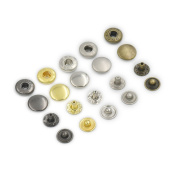 "100 Sets 12mm 1/2"" Metal Snap Fastener Leather Craft Rapid Rivet Button Setting Sewing Mixed"