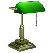V-LIGHT Traditional Style CFL Banker's Desk Lamp with Green Glass Shade