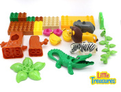 Little Treasures 29 Piece Do It Yourself Jungle Building Block Play Set with Toy Lion, Alligator, Elephant, Zebra and More Duplo Compatible & Tight Fit