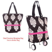 Shopping bag on wheels from tote to a roller bag