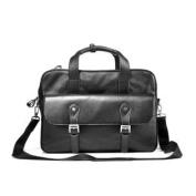 Genuine Leather Sojourner Soft-Sided Messenger Briefcase Bag, Black