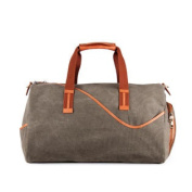 Designer Casual Canvas and Leather Gym Duffel Bag, Large, Khaki and Brown