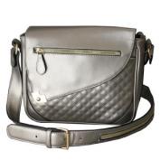 Metallic Silver Tablet Crossbody Bag