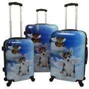 Doggies 3-Piece Hardside Lightweight Upright Spinner Luggage Set