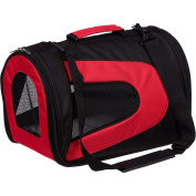 Airline Approved Folding Zippered Sporty Mesh Pet Carrier - Red & Black