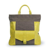 Canvas and Leather Three-Way Convertible Tote Bag / Messenger Bag, Large, Yellow