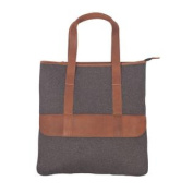 Canyon Outback Bentley 43cm Wool and Leather Tote Bag - Grey and Tan