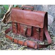 handolederco. Vintage Leather Laptop Bag 38cm Messenger Handmade Briefcase Crossbody Shoulder Bag