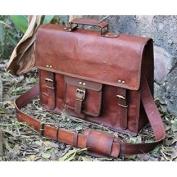 handolederco. Vintage Leather Laptop Bag 38cm Messenger Handmade Briefcase Crossbody Shoulder Bag