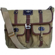 Military Inspired Khaki Green Canvas Messenger Bag Laptop Bookbag Backpack