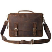 Kattee Vintage Genuine Cow Leather Briefcase Messenger Bag, Fit 36cm Laptop