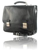 Timmari-Myrtle Italian Leather Messenger Bag [Black]