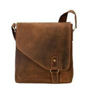 Visconti 16071 Oiled Distressed Leather Messenger Shoulder Bag Hunter