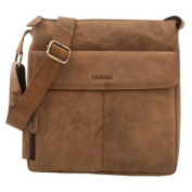 "LEABAGS - ""LOS ANGELES"" Unisex Leather Cross Body Shoulder Bag Vintage Style made of Genuine Buffalo Leather - Brown"