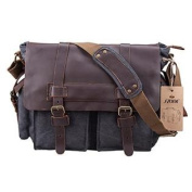 S-ZONE Retro Canvas Leather Messenger travelling shoulder laptop Bag