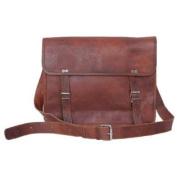 Komal's Passion Leather 36cm Men's Handmade Leather Messenger Laptop Bag with Shoulder Strap