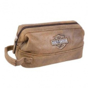 Harley-Davidson Bar & Shield Distressed Leather Toiletry Kit, Brown 99609-BRN