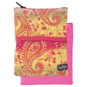 BIG BANJEES WRIST WALLET Breathable, Lightweight, Easy Access to Phone, etc.,One Size,Pink/Yellow Paisley - Sprigs