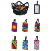 Luggage Tag assortment in Black Basket, 6 Assorted designs, 4 of each