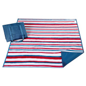 BL51-0660 Stain Release Striped Travel Blanket - Navy/Red