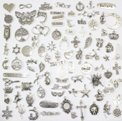 100 Mix No Repeated Silver Pewter Charms Pendants Mega Mix DIY for Jewellery Making and Crafting Same As Photo